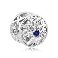 Silver P Sapphire Triquetra Celtic Family Tree Of Life For Charm Bracelet