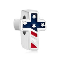 Silver Plated America Flag Cross For Beads Charms Bracelets Fit All Brands