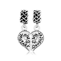 Heart Love Mother Daughter Family For Beads Charms Bracelets Fit All Brands