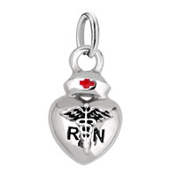 Silver Heart Love Nurse Cap R N Red Cross Frame Link Charms Beads Fits Braceles Pendant