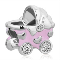 On Sale Pink Color Baby Stroller Carriage Charm Clear Birthstone Crystal Beads For Bracelet