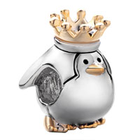 22 K Golden Cute Penguin King Crown Two Tone Plated Beads Charms Bracelets Fit All Brands