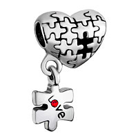 Autism Awareness Heart Charm Bracelet Dangle Love Red Crystal Charm Beads