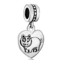Zodiac Animal Charms For Sign Boar Dangle Heart Love Charm Beads