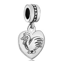 Zodiac Animal Charms For Sign Cock Dangle Heart Love Charm Beads