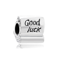 Good Luck Scroll Sterling Silver Fits Beads Charms Bracelets Fit All Brands