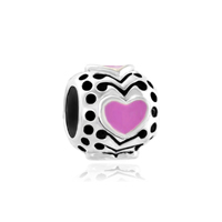 Filigree Vintage Antique Pink Heart Love 925 Sterling Silver Lover Fits Beads Charms Bracelets Fit All Brands