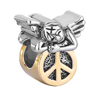 925 Sterling Silver Cute Sleeping Angel Peace Symbol Beads Charms Bracelets