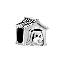 925 Sterling Silver Dog House Fit Beads Charms Bracelets All Brands