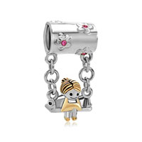 925 Sterling Silver Pink Crystal Mother S American Girl Charm Sitting On Swings Beads