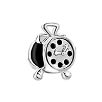 925 Sterling Silver Alarm Clock Fits Beads Charms Bracelets Fit All Brands