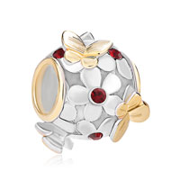 925 Sterling Silver Deep Red January Birthstone Flower Butterfly Charm Bracelet