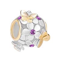 925 Sterling Silver Purple Birthstone Flower Butterfly Charm Bracelet