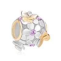 925 Sterling Silver Lavender June Birthstone Flower Butterfly Charm Bracelet