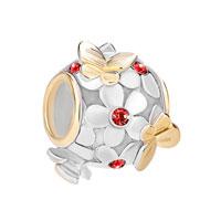 925 Sterling Silver Red July Birthstone Flower Butterfly Charm Bracelet