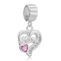 925 Sterling Silver Mom Charms Mother Rose Pink October Heart Dangle Charm Bracelet