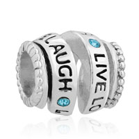 925 Sterling Silver Aquamarine Blue Crystal Live Love Laugh Spiral Bead Charm Bracelets