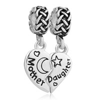 Sterling Silver Mom Charms Mother Daughter Celtic Knot Spacer For Charm Bracelet
