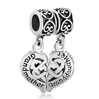 Sterling Silver Mother Daughter Heart Celtic Knot Charms For Bracelets