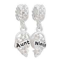 Sterling Silver Heart Charm Bracelet Aunt Niece Filigree Stars Knot Silver Beads