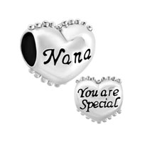 925 Sterling Silver Heart Nana You Are Special Charm Bracelet Spacers Silver Bracelets