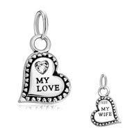 925 Sterling Silver My Love My Wife Heart April Birthstone Charm Fit Bracelets Necklace