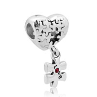 925 Sterling Silver Puzzle Heart Charm Bracelet Dangle Love Red Crystal Charm Beads
