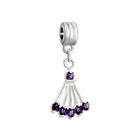 Silver Sector Amethyst Purple February Births Charm Spacers Dangle