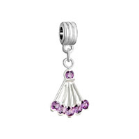 Silver Amethyst Purple February Sector Crystal Charm Spacers Dangle