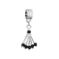 Silver Plated Black Onyx Sector Fancy Charm Bracelet Spacers Dangle