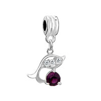 Dolphin With Amethyst Purple February Births Charm Spacers Dangle