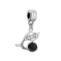 Silver Dolphin With Black Crystal Charm Bracelet Spacer Dangle