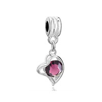 Silver February Births Amethyst Purple Heart Love Charm Spacer Dangle