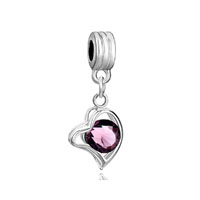 Silver Amethyst Purple February Births Heart Love Charm Spacer Dangle