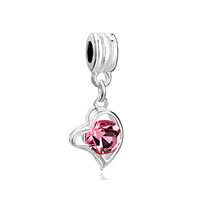 Love Gift Rose Crystal Heart Charm Bracelet Dangle European Bead