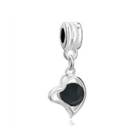 Silver Plated Classic Black Heart Fancy Charm Bracelet Spacer Dangle