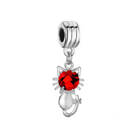 Silver Plated Cat Charm Bracelet Red Crystal July Birthstone Dangle
