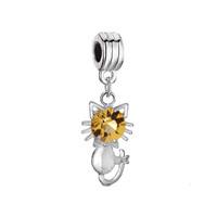 Silver Cat Charm Bracelet Yellow Crystal November Birthstone Spacer