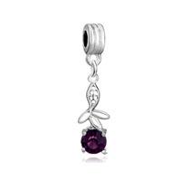 Flower Charms Bracelets Amethyst Crystal February Birthstone Dangle