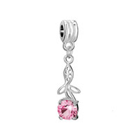 Flower Charms Bracelets Pink Crystal October Birthstone Dangle
