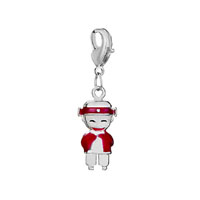 Silver Plated Happy Red American Girl Charm Bracelet European Bead