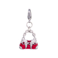 Fashion Red White Purse Handbag Gift Fit All Brands Dangle European Beads