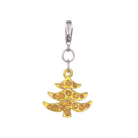 Christmas Jewelry Yellow Xmas Christmas Tree Citrine Crystal Gift Lobster Clasp Charms Pendant Fit All Brands