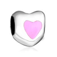 Silver Plated Pink Heart Charm Bracelet Birthstone European Bead