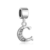 Letter Bracelet Charms Initial C Dangle Alphabet European Bead