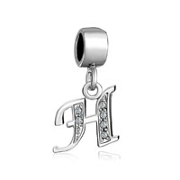 Letter Bracelet Charms Initial H Dangle Alphabet European Bead