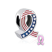 Breast Cancer Awareness Usa Flag Pink Ribbon Beads Charms Bracelets