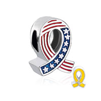 Usa Flag Yellow Ribbon Beads Charm Bracelets Beads Charm Bracelets