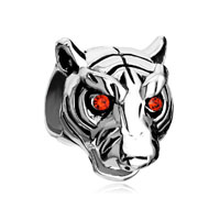 Vivid Head White Tiger Ruby Rhinestone Crystal Evil Eye Charm Bracelet