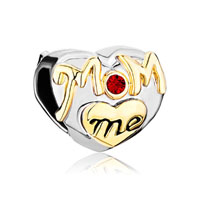 Mom Charms Heart Red Swarovski